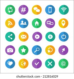 Flat communication icon set with wifi email cloud  hashtag earth phone bubble rss  photo  like profile home location favorite search cursor