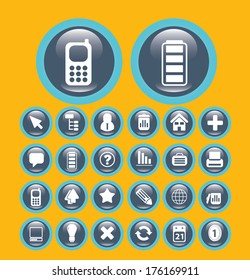 flat communication media buttons set, vector