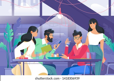 Flat company with woman and man in cafe drinking. Concept customer characters at break, friend relationship. Vector illustration.