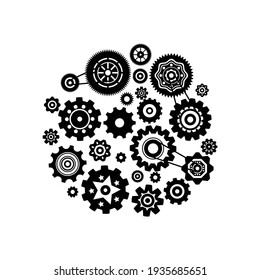 Flat composition of mechanism with gear wheels of different shape vector illustration