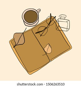 flat composition of an open book, of perfume bottle and cup of coffee