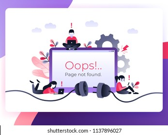 Flat Concept 404 Error Page or File not found for web page, banner, presentation, social media, documents. Website maintenance error, webpage under construction. Vector ultraviolet landing page
