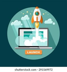 Fondo de concepto plano con cohete. Inicio del proyecto - lanzamiento. Ilustración vectorial.