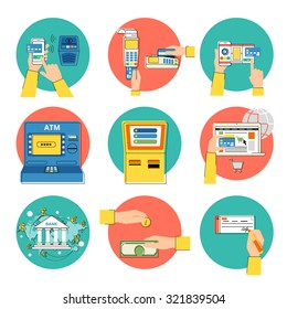 Flat concept contour illustrations set of payment methods such as credit card, nfc, mobile app, atm, terminal, website, bank transfer, cash and invoice