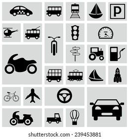 Flat concept, design with shadow, SEO. Set modern Icons mobile applications and web design. Working optimization:  transportation