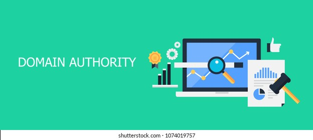 Flat concept of Domain authority, SEO algorithm vector banner with icons