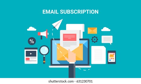 Flat Concept email subscription, opening email, newsletter marketing vector illustration with marketing icons isolated on dark background