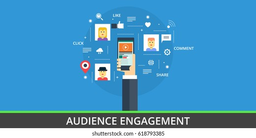 Flat concept of engaging audience with mobile applications, social media vector isolated on blue background