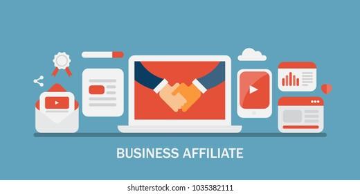 Flat concept of handshake, business affiliate, partnership program, online affiliate marketing
