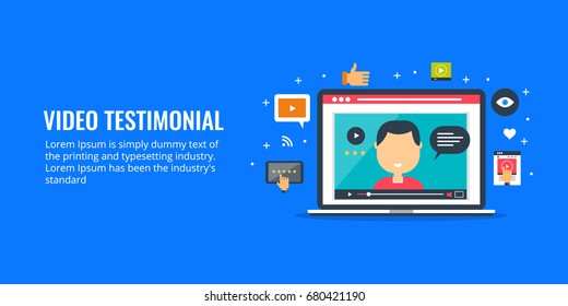 Flat concept illustration - video testimonial on laptop screen, client testimonial on website with icons