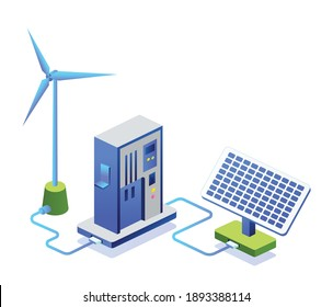 Flat concept isometric illustration. take electrical energy from solar panels