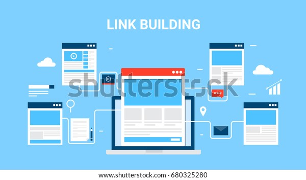 Flat concept of link building, SEO marketing, and digital marketing vector banner with icons of website templates, email, and video isolated on blue background