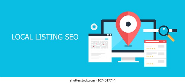 Flat concept of Local listing SEO, Local maps, Business address vector banner with icons