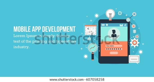 Flat Concept Mobile Application Development Software Stock Vector