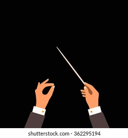 Flat concept of music orchestra or chorus conductor. Vector illustration for musical design