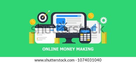 flat concept online money making digital stock vector royalty free