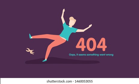 Flat concept for page not found 404 error. Vector illustration background with a guy slipped by a banana. Went wrong