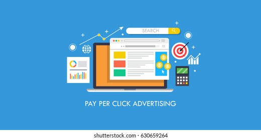 Flat concept for pay per click advertising, sponsored listing, paid search marketing vector banner with icons isolated on blue background