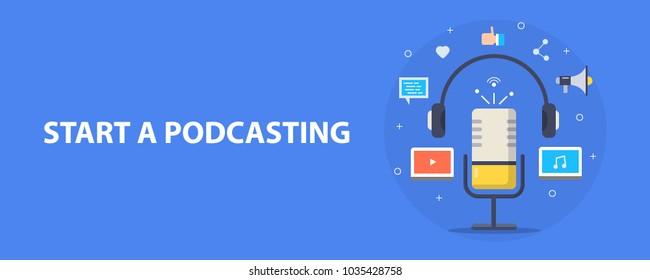 Flat concept of podcasting vector, Internet digital recording, online broadcasting illustrated banner