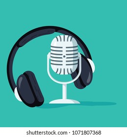 Flat concept of podcasting vector, Internet digital recording, online broadcasting illustrated banner. Headphones and microphone promotion for radio record or studio. Creative dance music concept