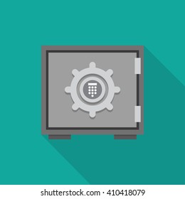 Flat concept safe icon with shadow. Safe icon vector. Safe illustration. Safe icon flat.