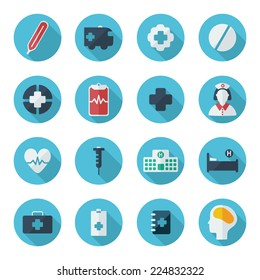 Flat concept, set modern design with shadow icons for web design and mobile applications, SEO. search Engine Optimization: medical icons