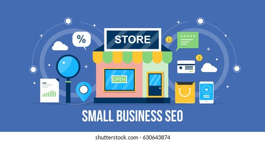 Flat concept for Small business SEO, local store marketing, local listing optimization vector banner with icons isolated on blue background