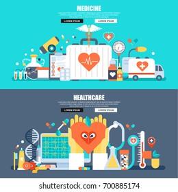 Flat concept web banner of online medical diagnosis and treatment, ambulance, healthcare mobile app, health plan management. Conceptual vector illustration for web design, marketing, graphic design.