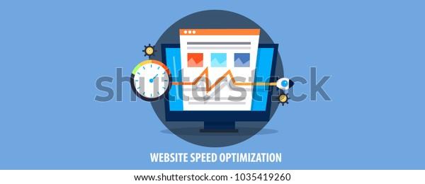 Optimización de velocidad de sitio web de concepto plano, tiempo de carga de páginas, banner vectorial de puntuación SEO
