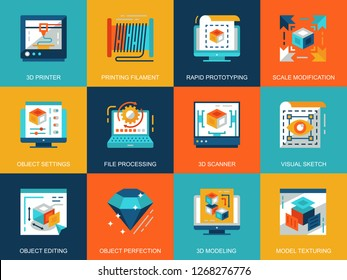 Flat conceptual 3D printing and modeling icons concepts set for website and mobile site and apps. Volumetric object scanning, scaling technology. Flat style pictogram pack. Vector illustration.