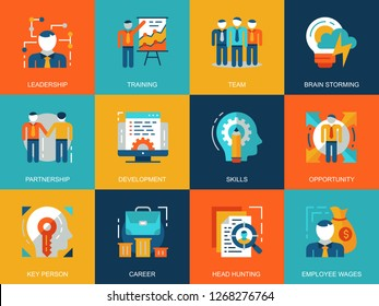 Flat conceptual corporate development icons concepts set for website and mobile site and apps. Leadership skills, team training, business career. Flat style pictogram pack. Vector illustration.