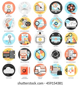 Flat conceptual icons set of search engine optimization tools for growth traffic, web seo. Concepts for website and graphic design. Mobile and print media. Isolated on white background.