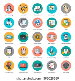 Flat conceptual icons set of seo monitoring and digital marketing, creative process, business and finance, office, teamwork, data analysis, startup, planning and web analytics. Flat vector icon.