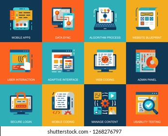 Flat conceptual web development icons concepts set for website and mobile site and apps. Mobile apps coding, user interface testing. Flat style pictogram pack. Vector illustration.