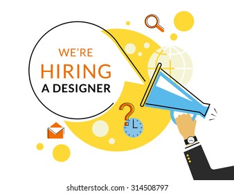 Flat contour illustration of human hand holding megaphone with hire announce on the bubble speech we are hiring. Template design to hire alert and recruit creative people via megaphone announce voice