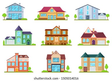 Flat cottages. Modern cottage houses suburban property. Buildings design for app interface. Architectural home exterior vector set