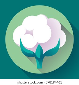 Flat Cotton icon vector. white nature cotton plant