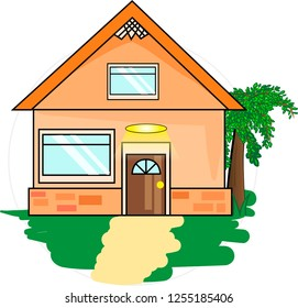 Flat country cottage house surrounded by greenery. Cartoon vector.