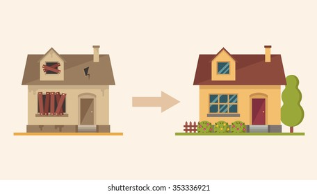 Flat Country House Before and After Repair. Colorful Vector Illustration