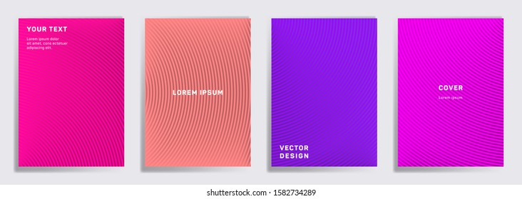 Flat cover templates set. Radial semicircle geometric lines patterns. Cool backgrounds for notepads, notice paper covers. Line shapes patterns, header elements. Cover page templates.
