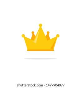 Flat crown king vector icon. Queen princess design crown gold royal corona.