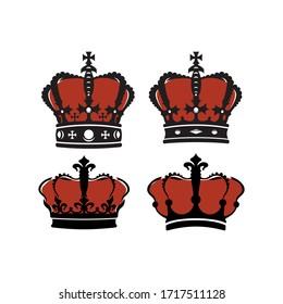 flat crown vector set illustrations
