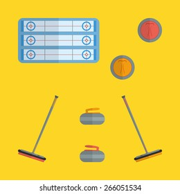 Flat curling icons design with yellow background