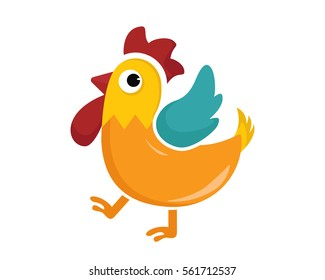 Flat Cute Animal Character Logo - Rooster