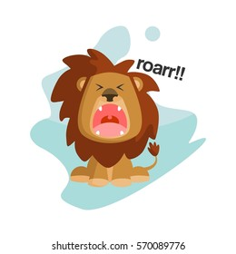Flat cute and funny cartoon lion character with various emotion and face in blue abstract background for kids and children