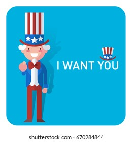 Flat cute illustration of Uncle Sam pointing, saying I want you
