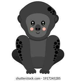 Flat cute smiling cartoon western gorilla with ruddy cheeks sitting on white background. Cute african primate for kids graphic design, sticker, logo. Vector.