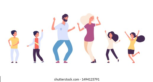 Flat dancing people. Happy kids and adults dancers vector characters. Male and female dance battle concept
