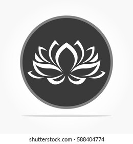 flat dark grey circle and white lotus flower symbol on it with shadow effect