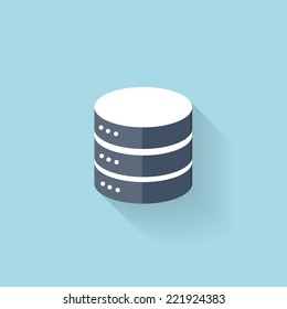 Flat data storage icon for web.